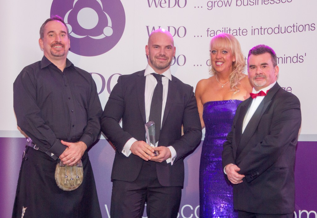 From L to R: Brian Hay Smith of Mazars - Award sponsors, Winner James Magee of Securicorps Security Management, Belinda Roberts & Martin Mutch of Mutch Associates, Awards Judge & WeDO Scotland Ambassador.